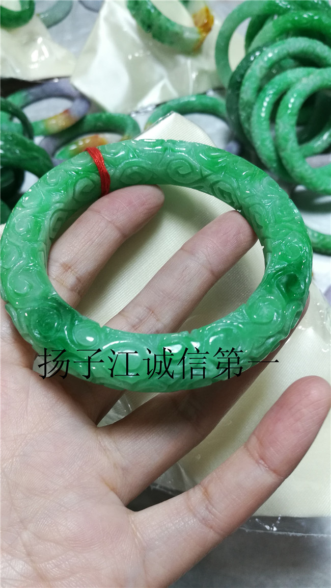 China Hand carving Natural red and white green jade Bracelet bangle 63mm