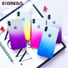 EKONEDA Rainbow Gradient Case For iPhone XR 11Pro Max Glitter Soft Cover X XS 7 Plus 6 6S 8