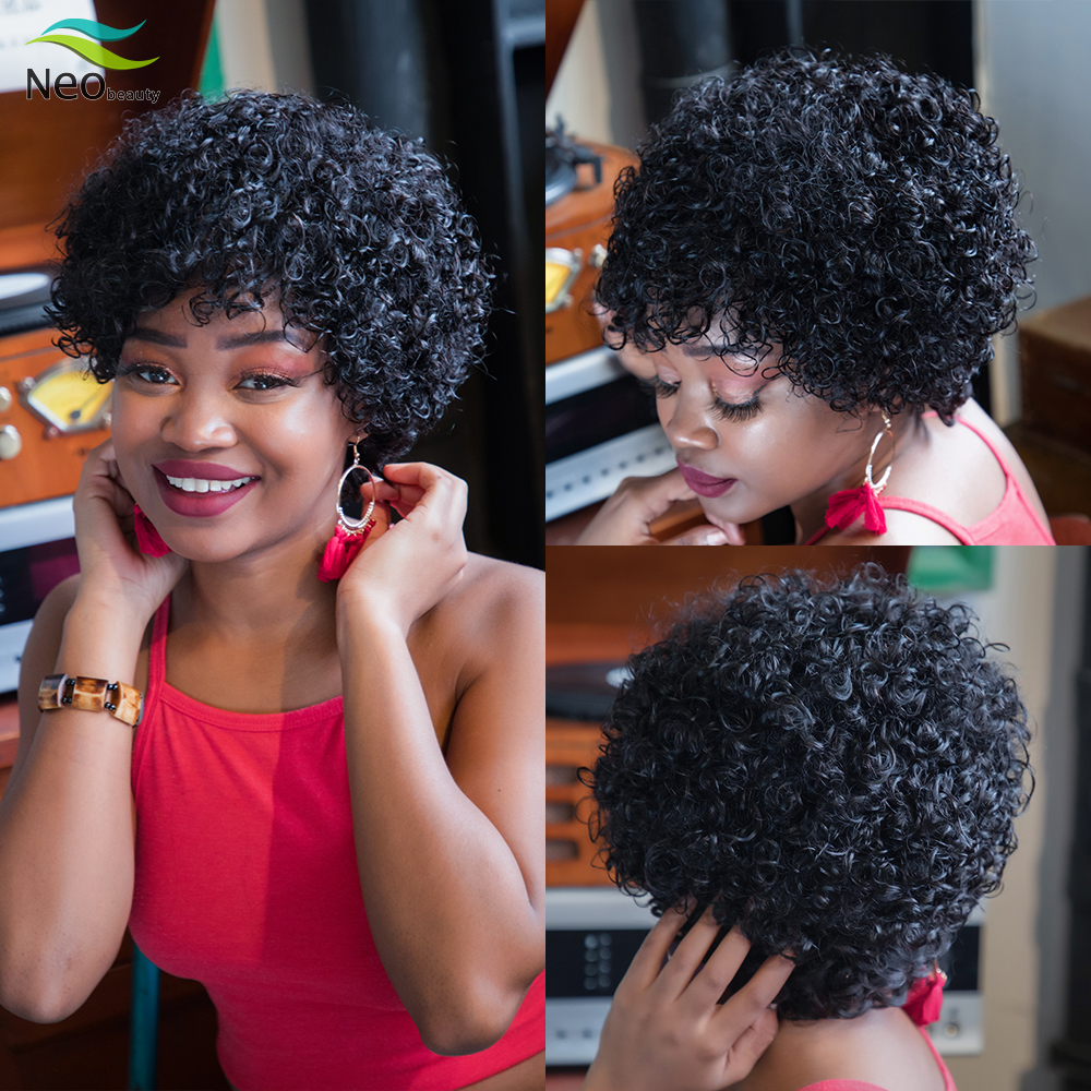 Pixie Cut Jerry Curly Short Afro Human Hair Wig Curly Natural Hair Human Hair Wigs For Black Women Invisible Curly Bob Wig Full Machine Wigs Aliexpress