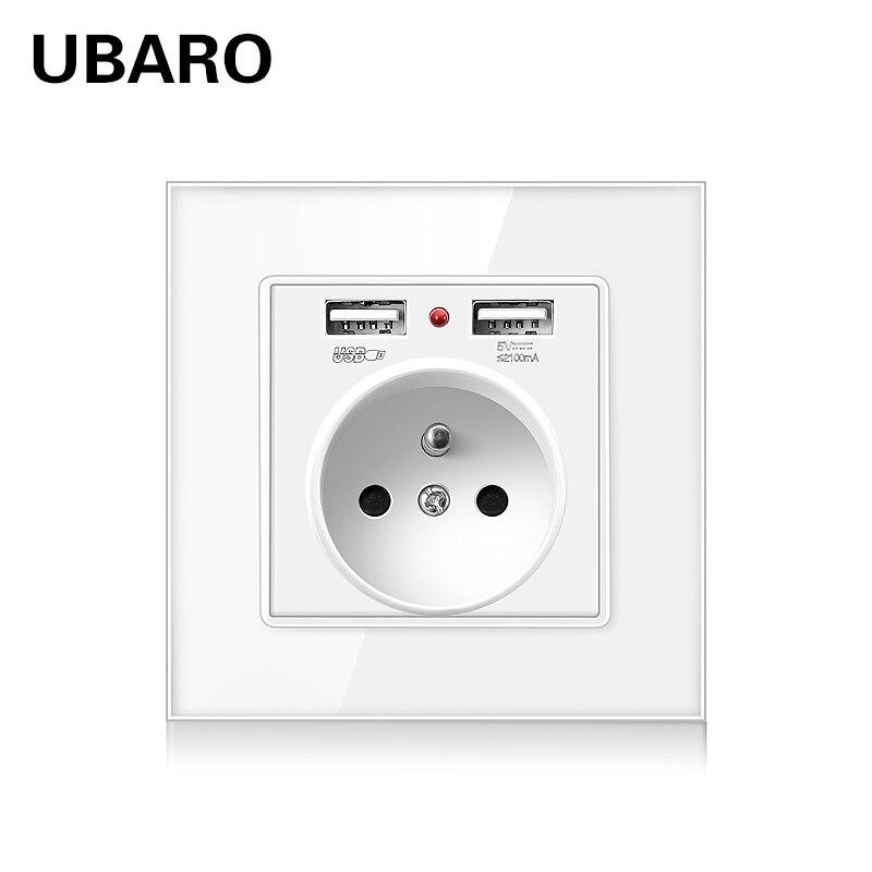 UBARO francuski Standard Ac100-250V 16A Panel ze szkła kryształowego gniazdo USB wtyczka elektryczna moc POP Sochets prise murale usb 86*86
