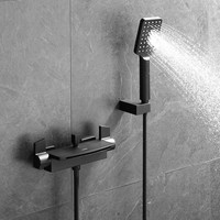Bath Shower Faucets Set Solid Brass Hot & Cold Bathtub Faucet Shower Mixer With Handheld Wall Mounted Waterfall Faucet Black