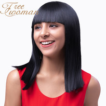 FREEWOMAN Nature Black Straight Synthetic Wig With Bangs Ombre Blue Purple Wig for Women Medium Length Wigs Heat Resistant Hair(China)