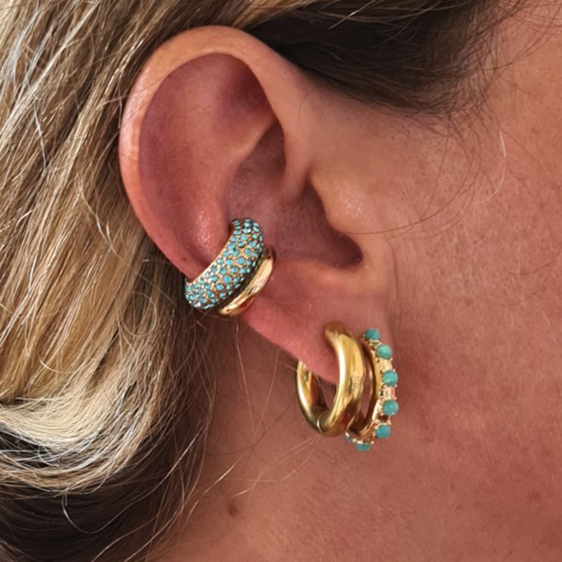 New Fashion CZ Crystal Small Hoops Ear Cuff Set for Women Girls Trendy Gold Huggie Earrings Earcuff Trendy Jewelry Brincos 2021