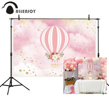 Allenjoy hot air balloon backdrops photocall pink floral cloudy star girl birthday photographic background photo photography image