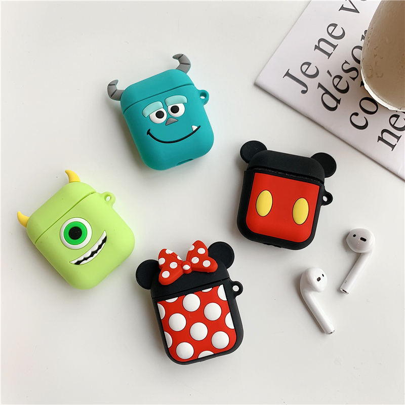 Image 2 - Bluetooth Earphone Case for Airpods 2 Accessories Protective Cover Bag Anti lost Strap Cute Cartoon Mini DIY Silicone Soft Cases-in Earphone Accessories from Consumer Electronics