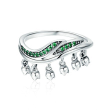 Internet Celebrity Style Jewelry Real 925 Sterling Silver Ring Green Color CZ Stone Ring Birthday Gift for Girlfriend Lover цены онлайн