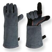 Рукавицы для барбекю из искусственной кожи, легко моются, водонепроницаемая, гибкая, для радиаторной решетки, перчатки, теплоизоляционные, Нескользящие, износостойкие