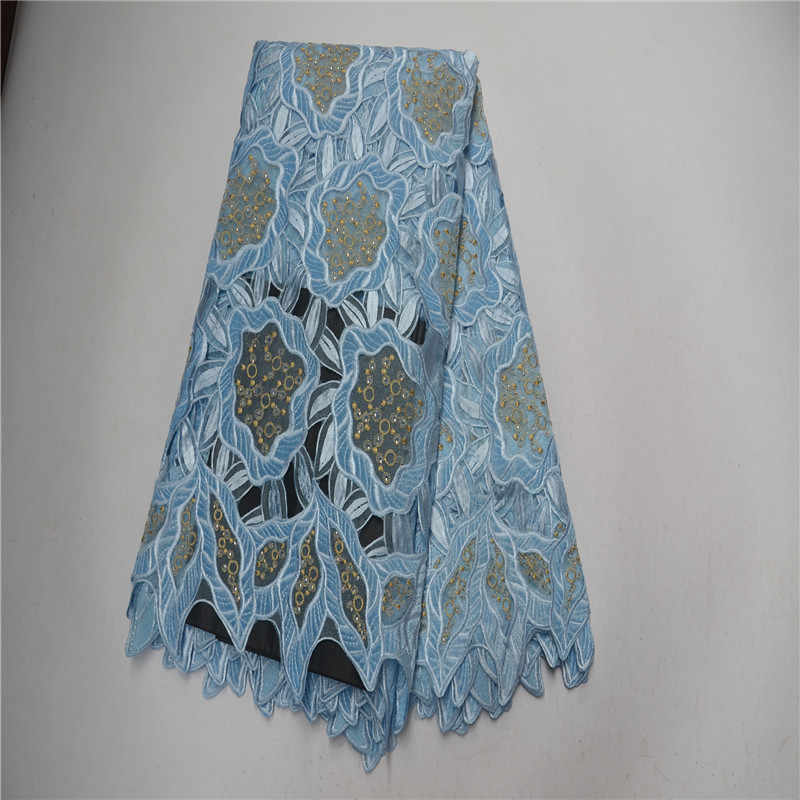 Purple Color 5 yards Handcut Swiss Voile Lace High Quality African Lace Fabric with Big Holes Stones High Quality