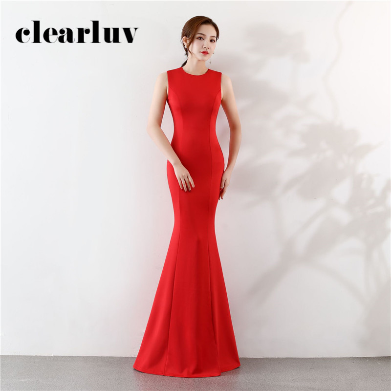Red Simple Evening Gown Sleeveless O-Neck Slim Mermaid Dress DX401 2020 Sexy Plus Size Floor Length Formal Dress Women Elegant
