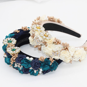 Image 2 - Éponge en strass éponge à la mode Baroque, en fleurs, bandeau sauvage, accessoires pour cheveux, tir dans la rue, pour le bal de promo, 756