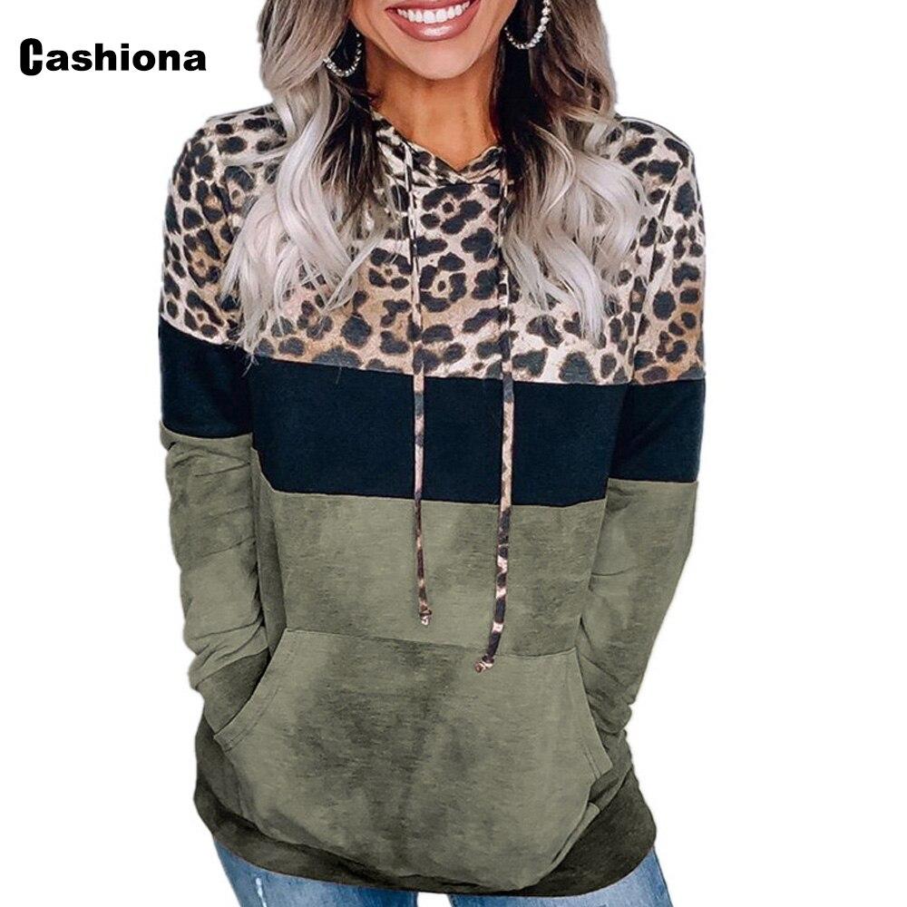 Cashiona 2020 Women Hoodie Sweatshirts Autumn Long Sleeve Patchwork Color Leopard Printed Tops Plus size Femme Casual Sweatshirt 11