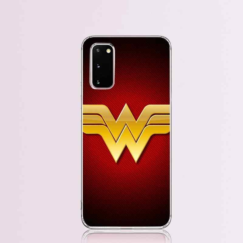 CUTEWANAN Marvel Hero Mujer Maravilla Logotipo de silicona suave funda de teléfono TPU para Samsung S9 más S5 S6 S7 borde S8 S10 plus