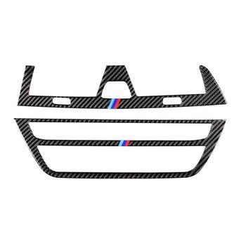 Tira de Fibra De carbono Ar Condicionado Tampa Guarnição Interior Painel Decorativo CD Acessórios Estilo Do Carro Adesivo para BMW G30 5 Series