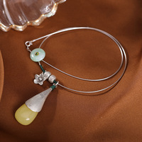 S925 sterling silver natural beeswax amber emerald peace buckle classic ladies collar pendant chain