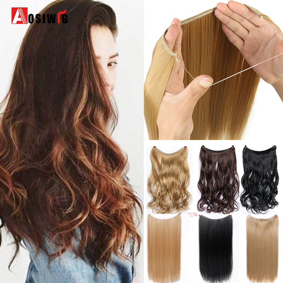 AOSIWIG Women's Invisible Fish Line Clip in One Piece Hair Extension Natural Wavy Long High Temperature Synthetic Fake Hairpiece 1