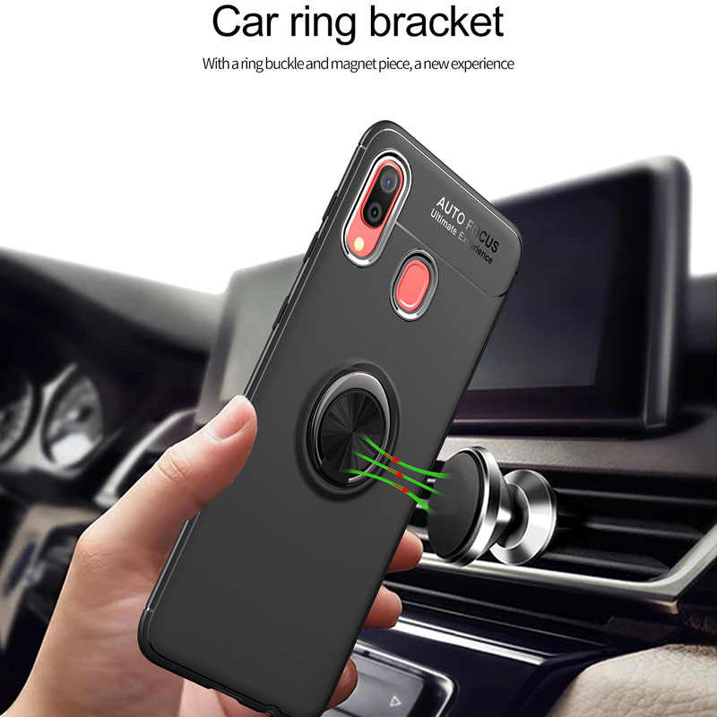 Luksusowy, odporny na wstrząsy pierścieniowy uchwyt etui na Samsung Galaxy A40 pełna pokrywa dla Samsung Galaxy A40 miękkie silikonowe futerały Coque