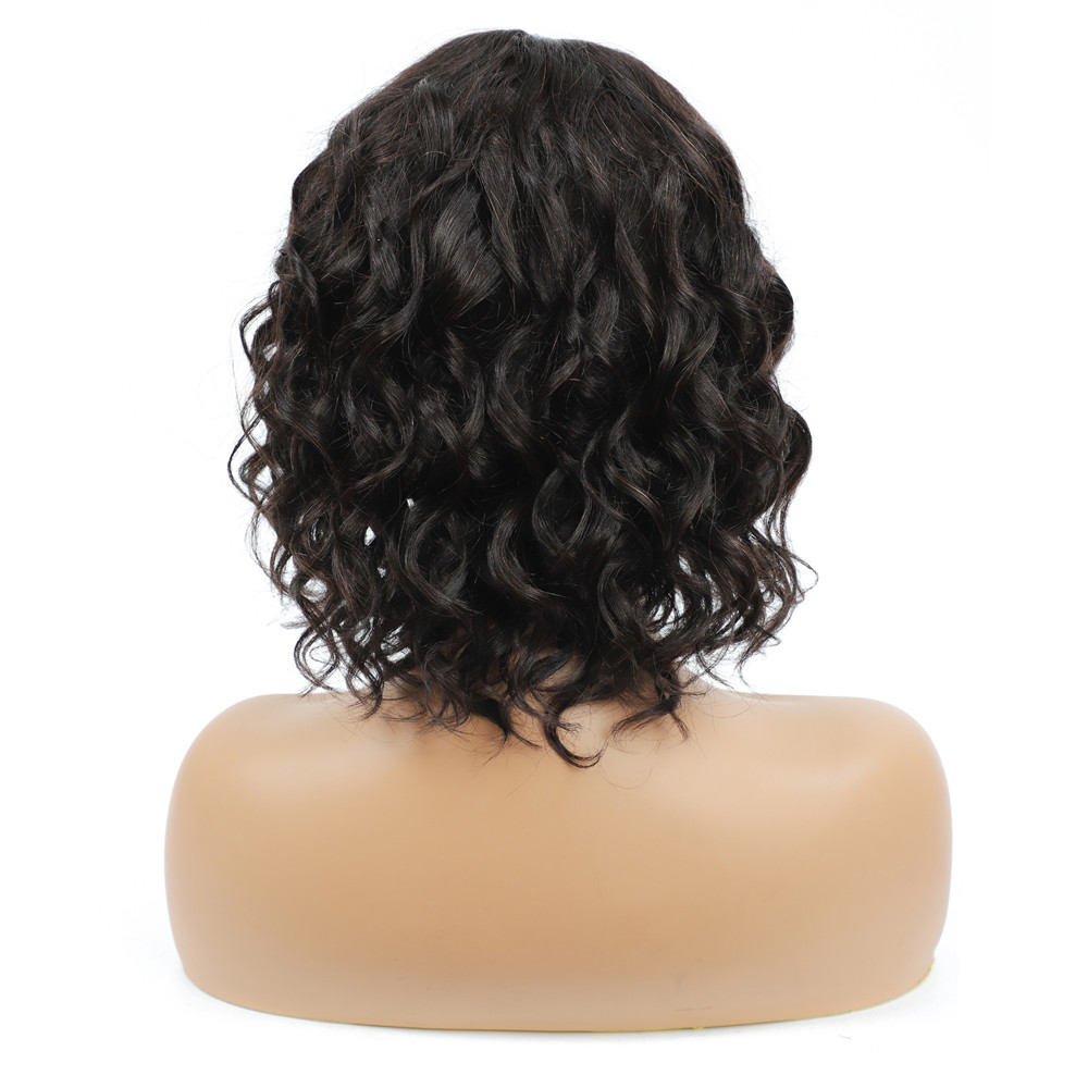 Brazilian Short Water Wave Hair Wig With Bangs For Black Women Full Machine Wigs Natural Color Human Hair Wig Non-Remy IJOY
