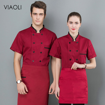 Chef Men and Women Stand Collar double Breasted Summer breathable Short Sleeve Casual Restaurant Cook Wear Catering Uniforms