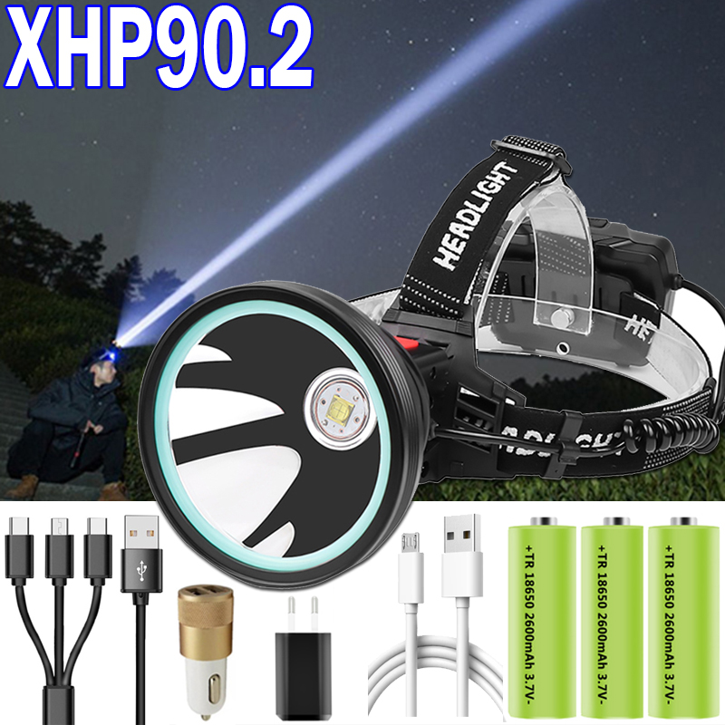 XHP90.2 Most Power LED Headlamp 3 Mode Super Bright XHP50.2 Head Lamp Light Use Rechargeable 18650 Battery For Camping , Fishing