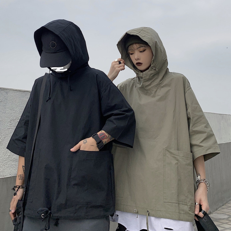 Summer Thin Section Hoodies Men's Solid Color Casual Couple Hooded Sweatshirt Men Streetwear Loose Hip Hop Short Sleeve Hoodie