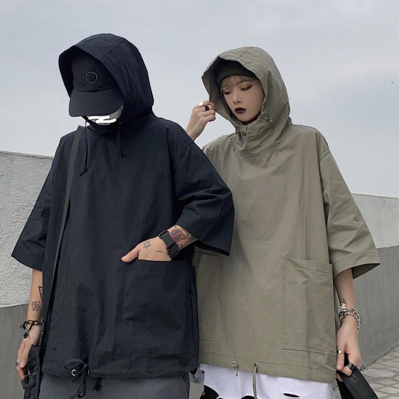 Summer Thin Section Hoodies Men's Solid Color Casual Couple Hooded Sweatshirt Men Streetwear Loose Hip Hop Short Sleeve Hoodie