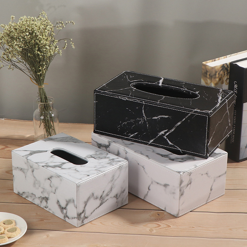 Ever Perfect Modern Marble Rectangle Faux Leather Tissue Box Napkin Toilet Paper Holder Case Dispenser Home Decoration