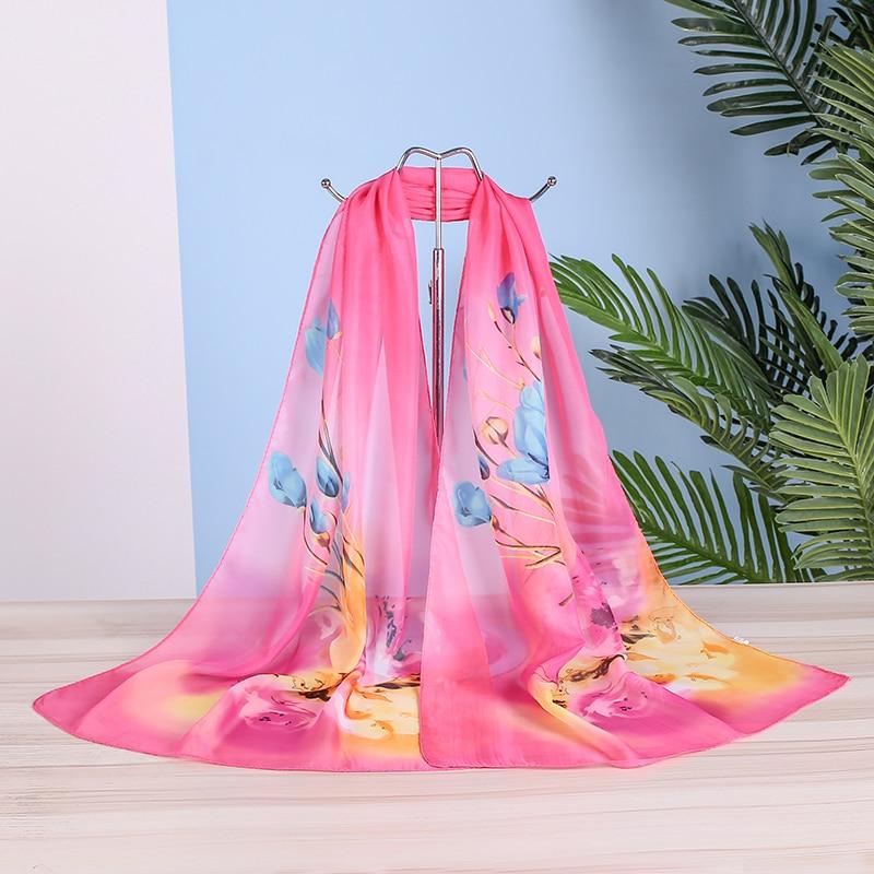 Tulip Flower Chiffon Scarf Women Summer Simulatio Silk Scarves Flower Shawls And Wraps  Foulard Print Hijab Stoles Wholesale
