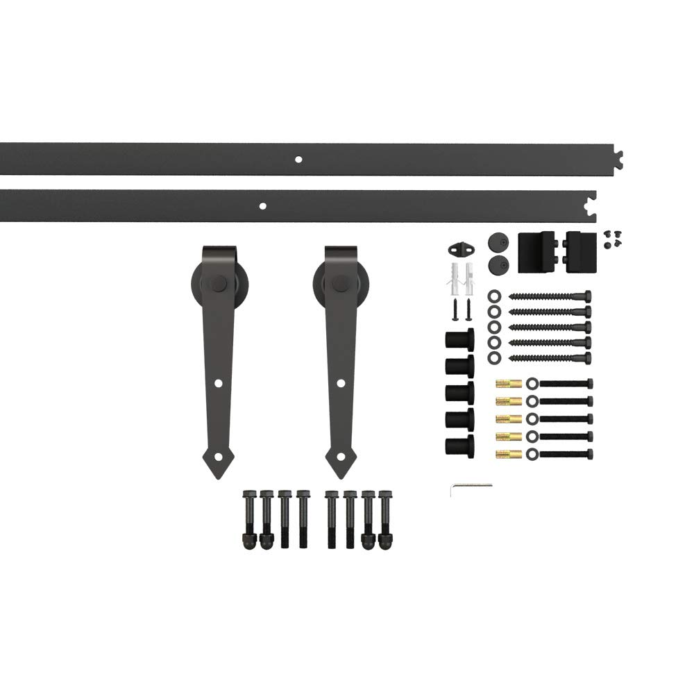 Kit de rail de porte coulissante en acier noir à sangle de 6,6ft 2x3. 3ft Rails, rouleau de suspension à flèche