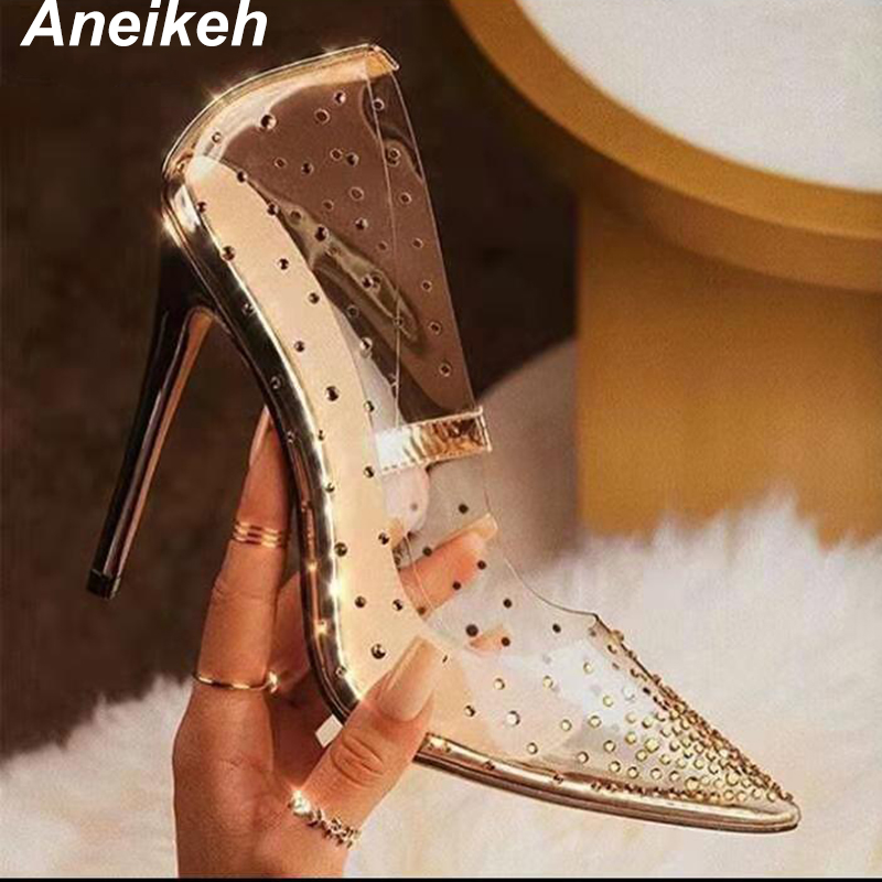 Aneikeh 2019 Sexy Rivet Fashion PVC Woman Transparent Sandals Thin High Heels Shoes Pointed Toe Pumps Slip On Solid Golden 35-42