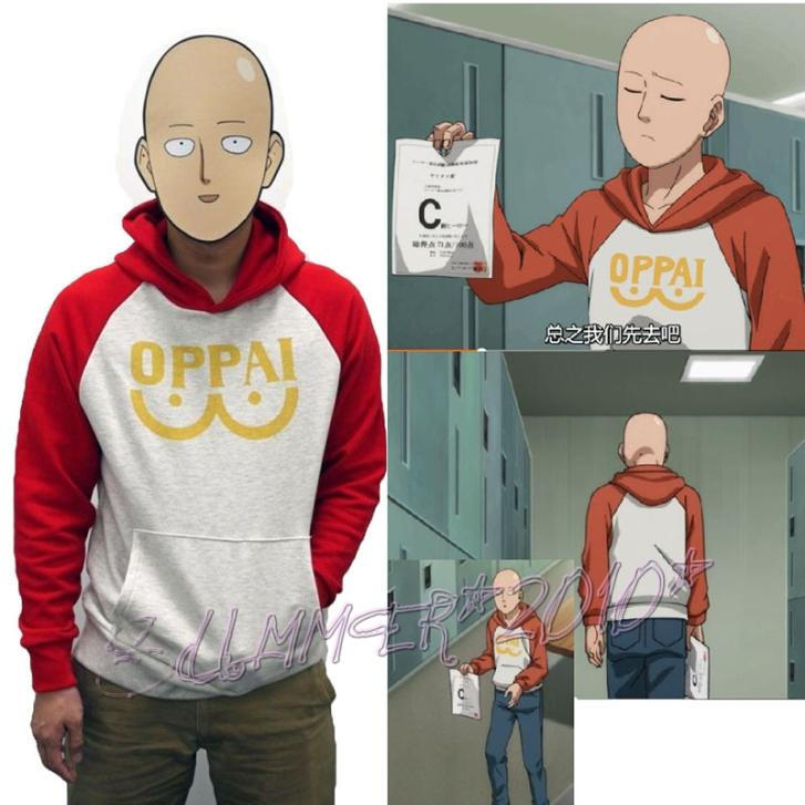 Oppai Hoodie Cosplay Costume Anime One-Punch Man Saitama NEW title=