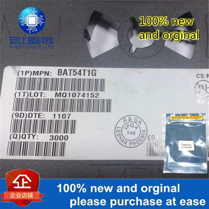 50pcs 100% New And Orginal BAT54T1G Silk-screen SBM SOD123 Schottky Diode In Stock