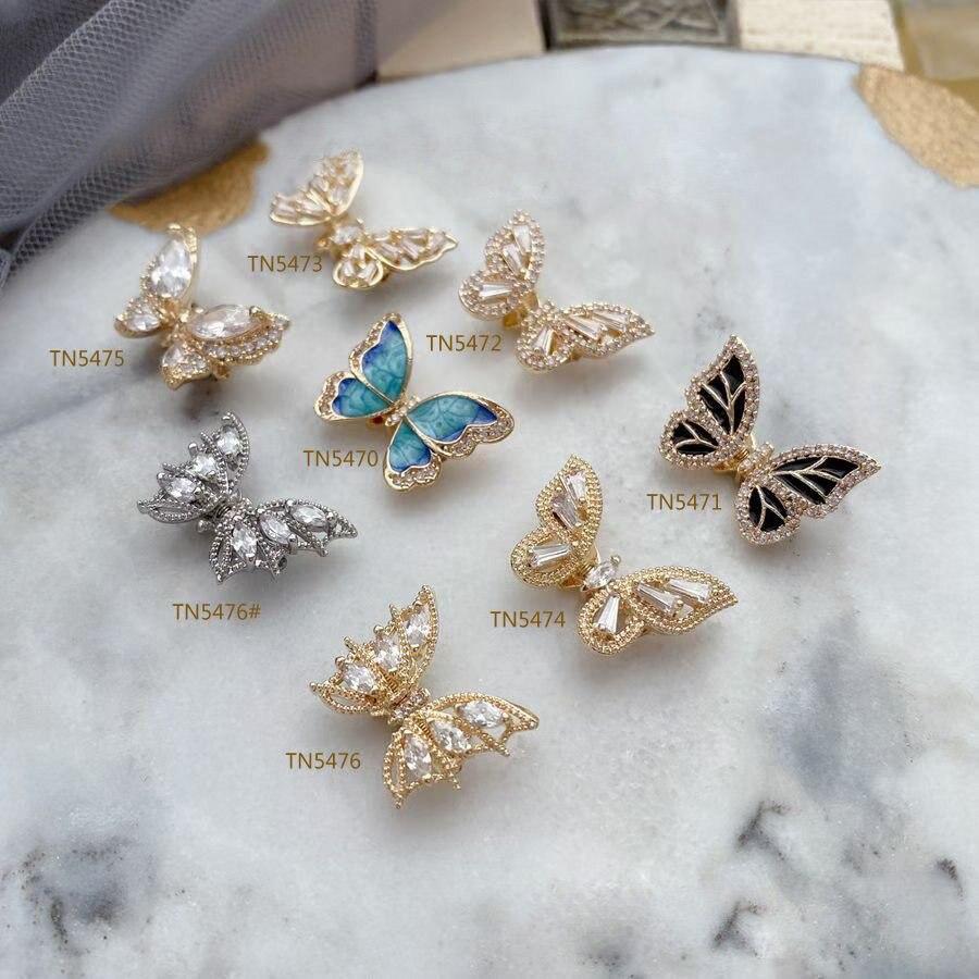 10 pcs voando agitando borboleta zircao liga arte do prego cristais strass decoracoes encantos joias unhas