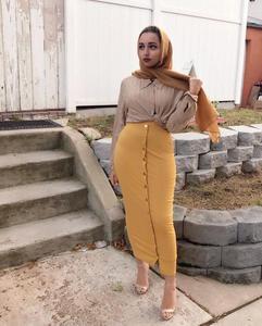 Image 4 - Muslim Women Long Maxi Skirt Bodycon Pencil Dubai Skirts Fashion Buttoms High Waist Middle East Abaya Sheath Long Skirt Islamic