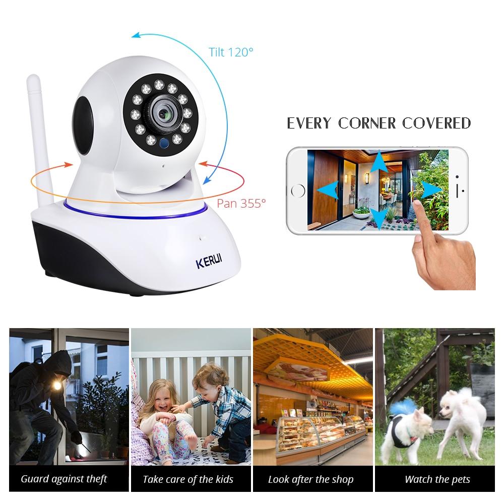 KERUI-Mini cámara de seguridad inalámbrica para interiores, dispositivo de seguridad IP de 720P, 1080P, Wifi, cámara de vigilancia CCTV para el hogar, 1MP, 2MP, Tuya, Smart Life, visión nocturna