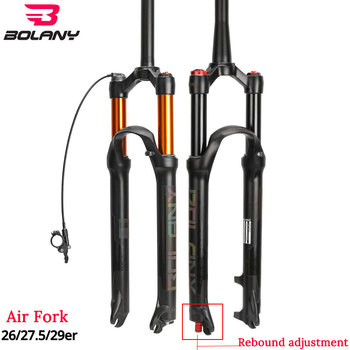 Bolany MTB Bicycle Air Fork Supension Rebound Adjustment 26/27.5/29er Lock Straight Tapered Mountain Fork For Bike Accessories elyon mtb air resilience fork rock shox aluminum alloy 27 5er 29er hl rl tapered tube fork 140mm travelling for mountain bike