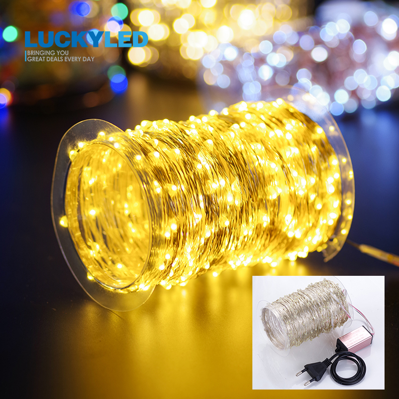30M Led Light String Outdoor Waterproof AC 85-265V Silver Wire Lights Holiday Wedding Decoration Fairy Lights Plug In EU Adapter