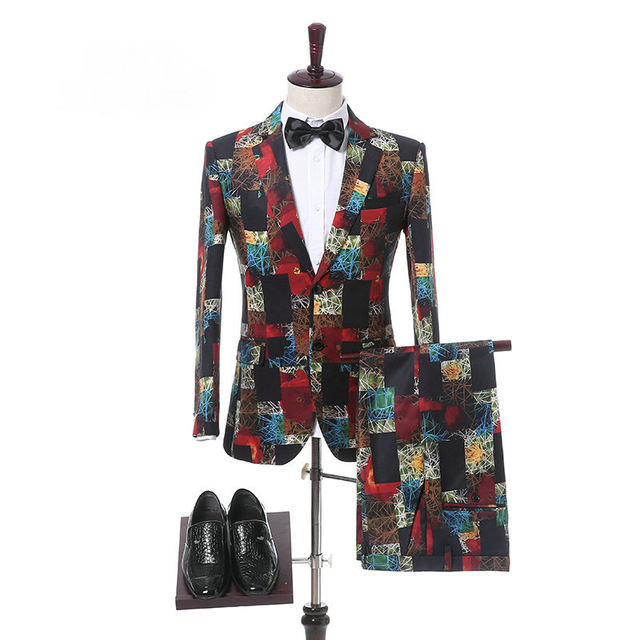 Customize Mens Suit Shawl Lapel Double Breasted Floral Wedding Suits Slim Fit Prom Groom Tuxedo Terno Masculino