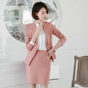 Skirt Suits Jacket-Set Blouse Office-Wear Navy-Blue Women's Black And Pink Costumes Female