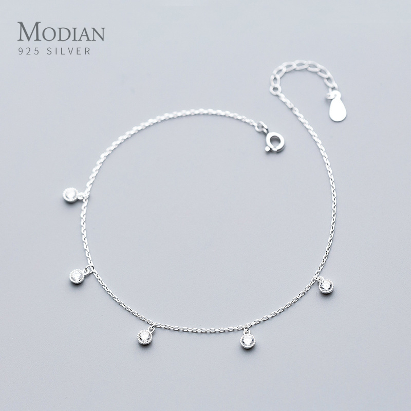 Modian Simple Essential Bead Link Anklets 925 Sterling Silver Clear CZ Bracelet for Foot Jewelry Silver Female Leg Chain NEW