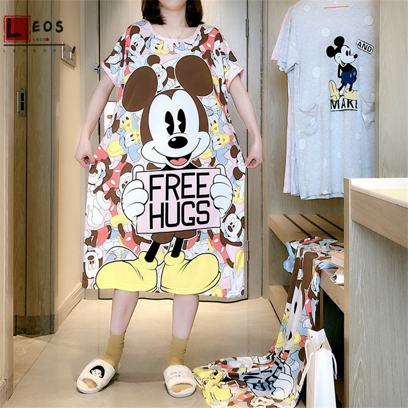Cartoon Women Nightdress Mickey Print Loose Plus Size T-Shirt For Female Short Sleeve Summer Nightgowns Fashion Ladies Clothes