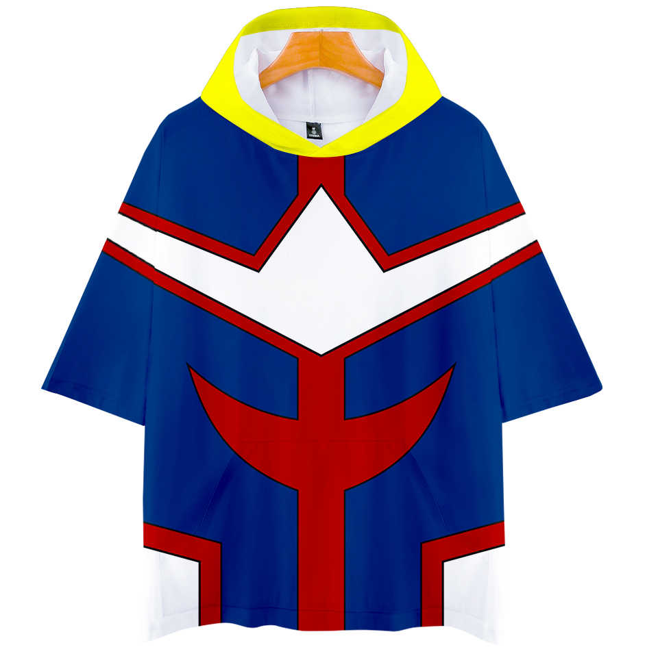 Cool Anime My Hero Academia Cosplay Costumes Hoody Tshirt Men Women T-shirt Hooded T Shirt Todoroki Shoto Summer Pocket Clothes