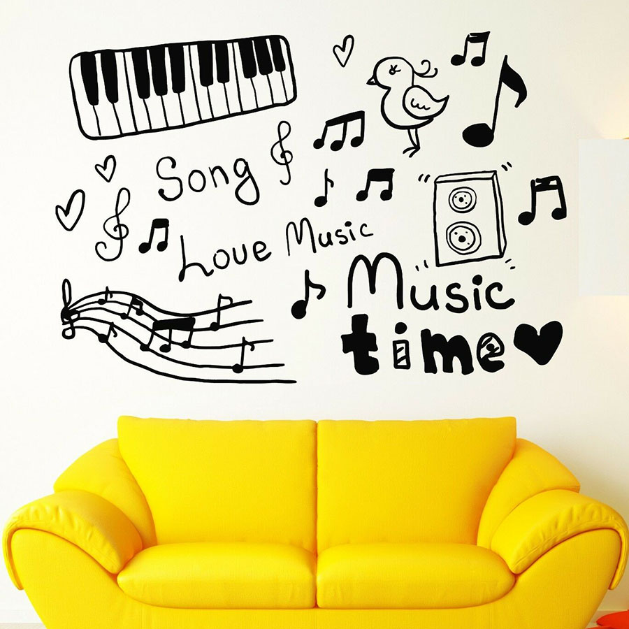 Music Note Wall Sticker Vinyl Window Decal Sketch Musical Instruments Love Songs Music Time Kids Room Nursery Home Decor S1095 image
