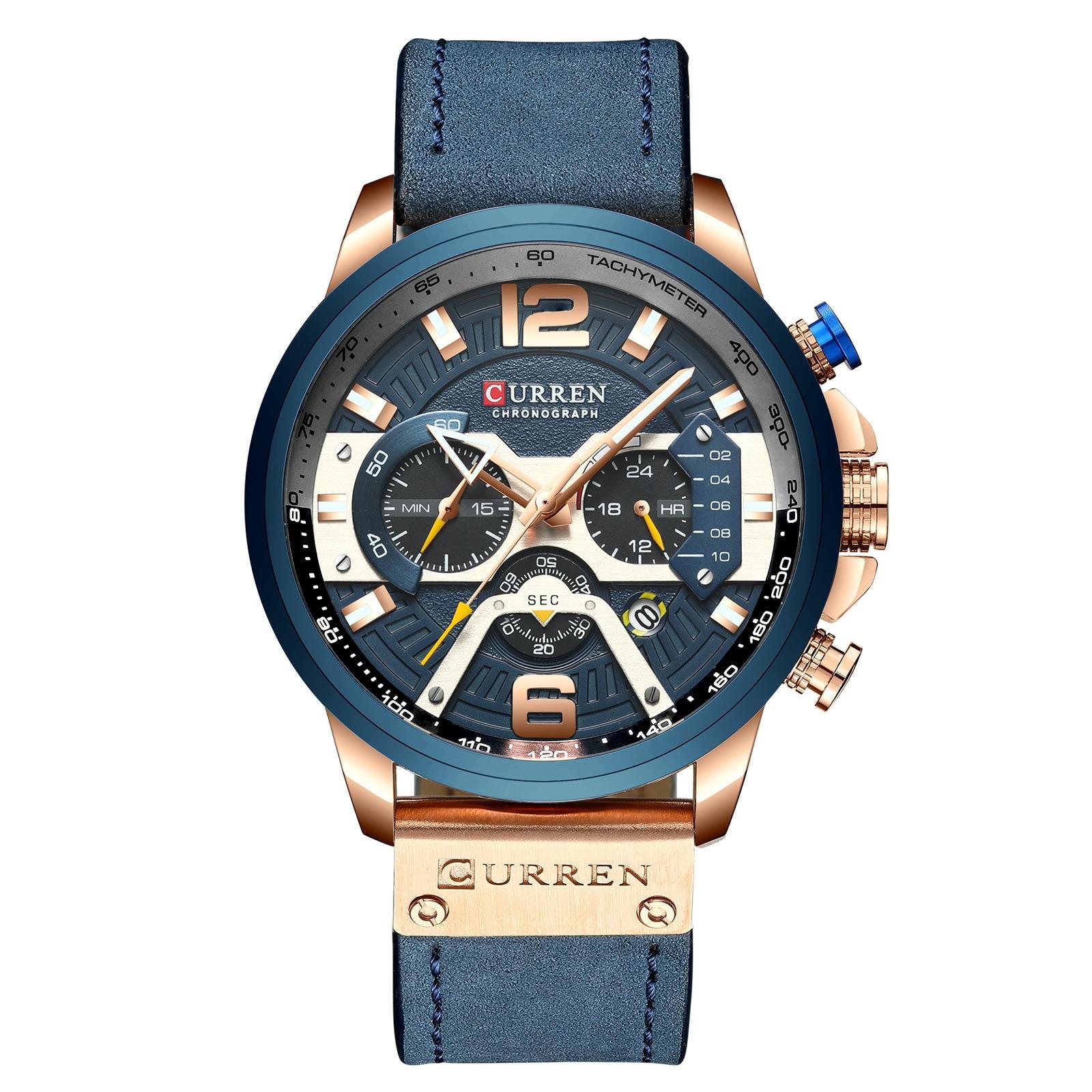 CURREN повседневные спортивные часы для мужчин синий топ бренд Роскошные военные кожаные Наручные часы мужские часы модные наручные часы с