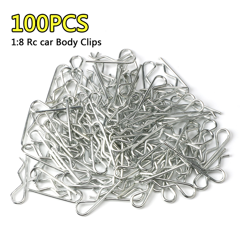 100PCS RC 1/8 Body Clips Pins Bend Post Remote Control Car Parts Truck Buggy Shell For 1:8 Rc Car