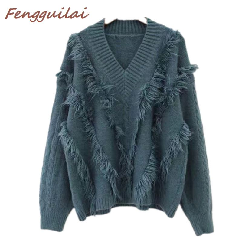 New Autumn 2019 Pullover Tassel Sweaters Loose Jumper Casual White Camel Blue Sweater Women Knitting Sweaters Long Sleeve