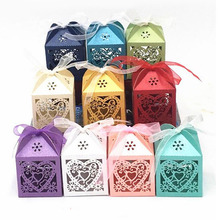 10/50/100pcs Love Heart Laser Cut Hollow Carriage Favors Gifts Candy Boxes DIY With Ribbon Baby Shower Wedding Party Supplies 25pcs laser cut hollow love heart chocolate candy box with ribbon happy eid mubarak ramadan party decoration diy