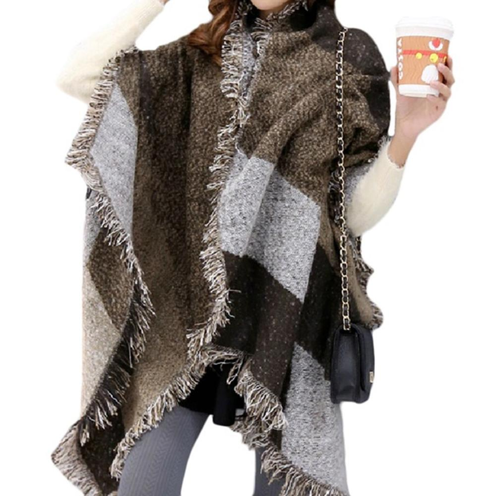 Poncho Women Spring Winter Knit Patchwork Tassel Plus Size Cloak Pullover Shawl Cape Coat Ponczo Damska Free Shipping
