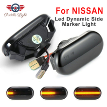 цена на 2x Led Dynamic Side Marker Turn Signal Light For Nissan Qashqai NP300 NAVARA Note Navara Pathfinder Tiida C11 Camiones Frontier