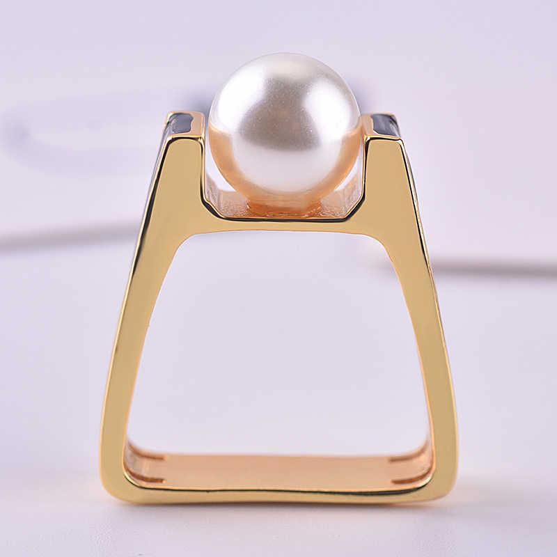 여성을위한 14K 골드 진주 다이아몬드 반지 남자 광장 Anillo 웨딩 Bizuteria 14K 골드 토파즈 쥬얼리 Bizuteria 패션 보석 반지