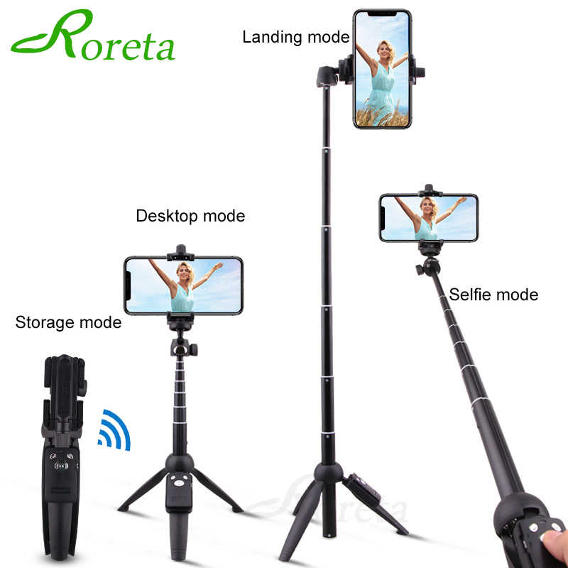 Roreta Portable Wireless Bluetooth Selfie Stick Handheld Monopod Foldable Tripod dengan Bluetooth Remote Control USB Pengisian